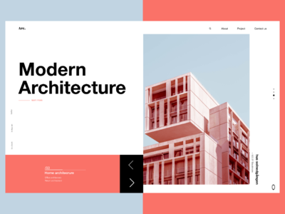 Modern Architecture concept 2019 trend pantone modern architechture landing  page web ui ux typography design