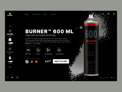 Molotow Burner product cart chrome figmadesign figma product card cans graffitti burner molotow branding design web ux ui
