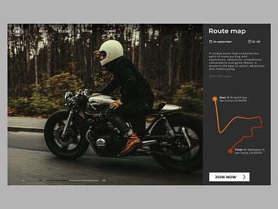 Race card map card event moto motobike race web design ui ux