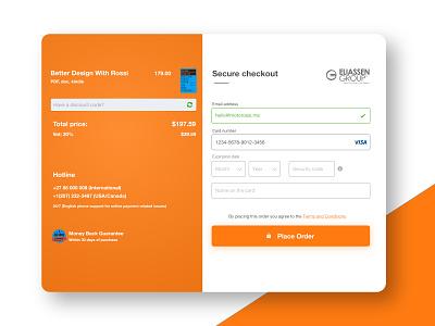 Secure Checkout Orange modal form checkout page checkout