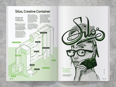 Silos silos portrait girl calligraphy design illustration