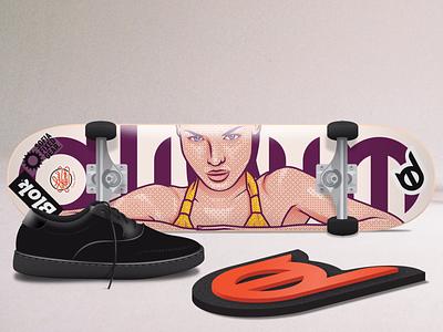 Dlirium skateboard sneaker skateboard sticker girl illustration