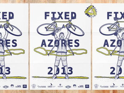 Azores Fixed 13 poster logo bicycle illustration