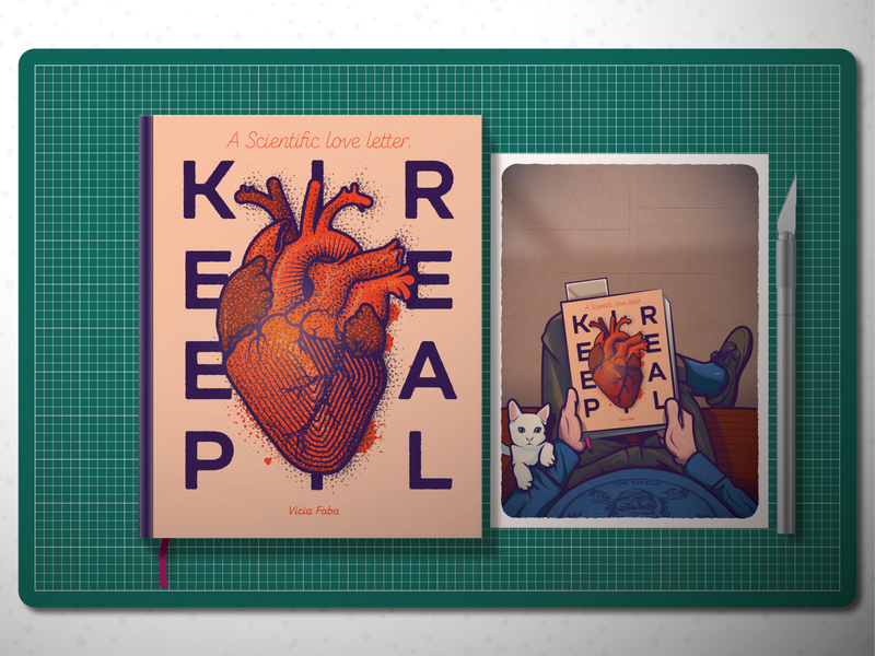 Keep it real . Stay sharp . Be nice cutting board keep it real heart scalpel cat book design illustration