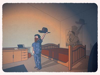 Old Town Road (quarantine edition) shadow quarantine cowboy porsche 911 horse lilnasx bedroom illustration