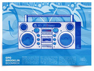 Boombox brooklyn graffiti boombox vector blue poster design illustration