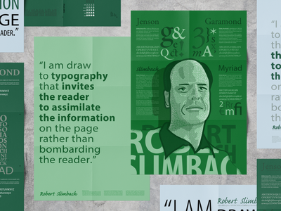 Robert Slimbach Poster garamond myriad citation poster green portrait vector design illustration