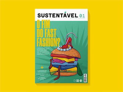 Sustentável magazine cover sustainability fashion hamburger fast fashion vector magazine illustration illustration
