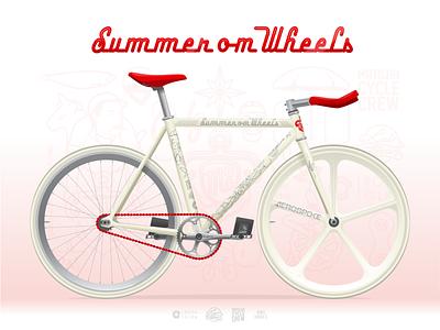 Summer on Wheels Bicycle crankset sugino aerospke livery bicycle illustration