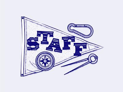 Staff naval flag birdie bússola compass staff illustration