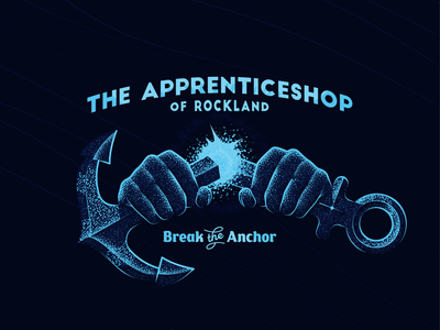 Break the Anchor night hands sea naval anchor halftone illustration