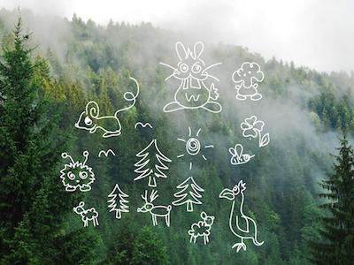 Doodle doodle illustration cartoon animals sketch forest