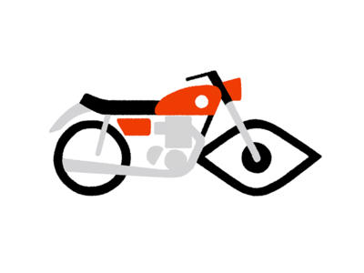 Keep an Eye Out seeing mark. sight icon logo design illo illustration eye motorcycle