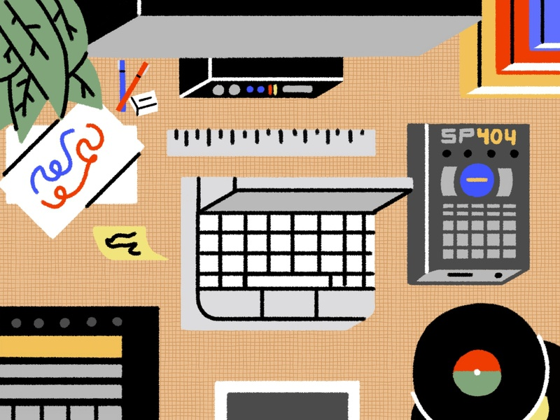 Workspace desktop space work graphicdesign workspace desk icon ipad musicproduction illustration