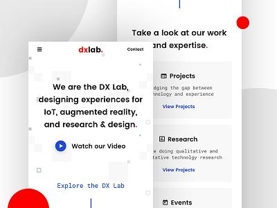 DX Lab Website - Mobile responsive lab ux minimalist mobile website