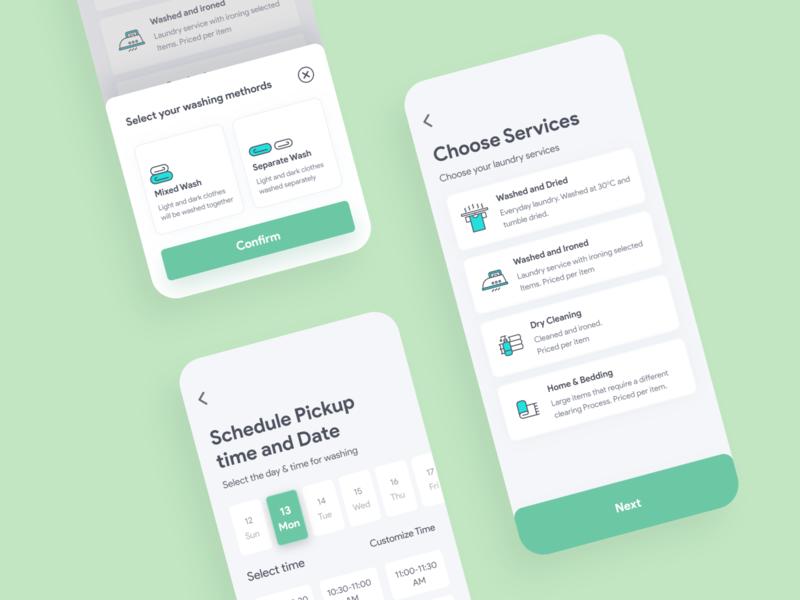 Laundry Service datepicker service design iphonex laundry app concept graph design dashboard color card ui mobile app app uiux