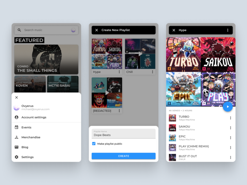 Music App Overlays monstercat music mobile popup material design 2 material design ui vector figma