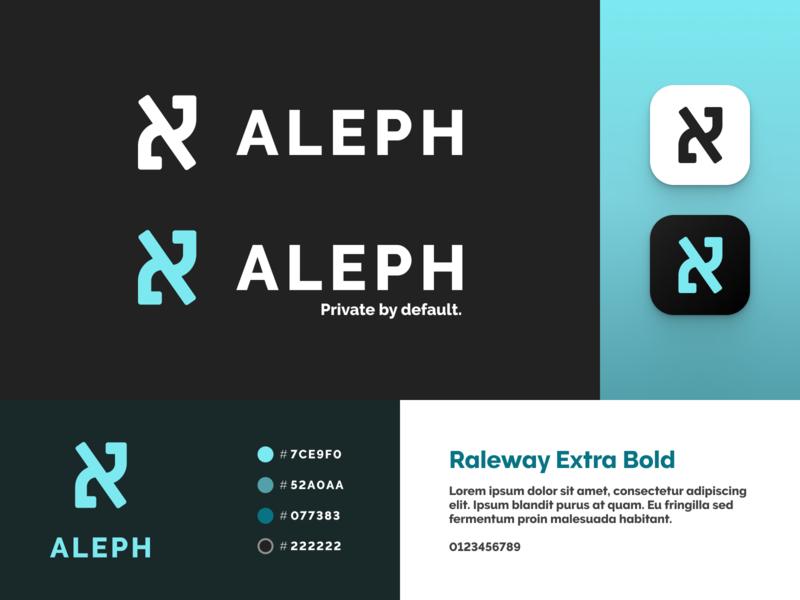 Aleph Branding cyan message app messaging secure privacy logo design wordmark logo icon typography illustration branding vector figma