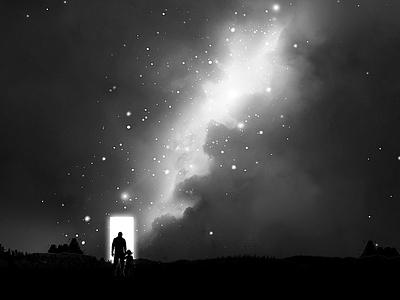 A new dimension galaxy milkyway stars night shade light portal space art space nebula cosmos