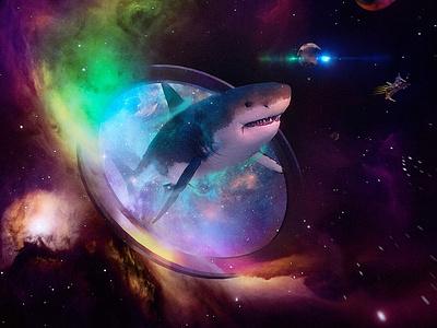 Space Megalodon shark cosmos t-shirt purple nebula night sky illustration