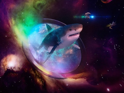 Space Megalodon shark cosmos t-shirt purple nebula night sky illustration