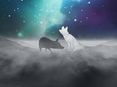 Wild / Wildfire Within teal blue fox design t-shirt purple nebula sky night illustration cosmos