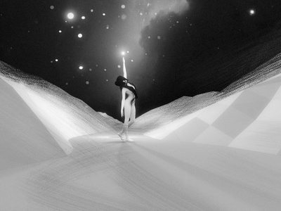 Enchanted 3d galaxy star girl nebula sky night illustration cosmos