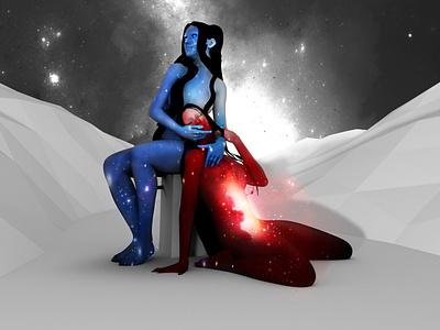 I'm my own worst enemy girl sad stars 3d galaxy nebula night sky illustration cosmos