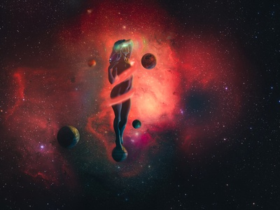 Of Jupiter and Moons girl illustration space moon stars planets galaxy girl t-shirt nebula sky night illustration cosmos