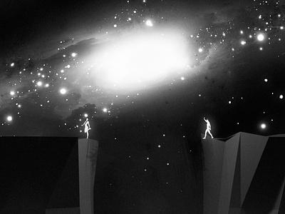 Bait 3d stars girl galaxy nebula sky night illustration cosmos