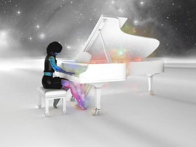 Musique / River flows in you space stars girl 3d galaxy nebula sky night illustration cosmos