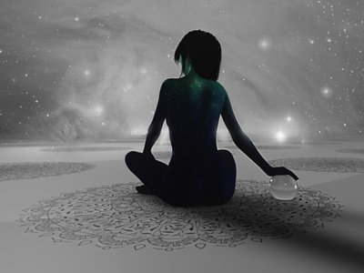 Dialogue With the Stars people lights woman calming star peaceful calm meditation illustration space stars girl galaxy nebula sky night cosmos