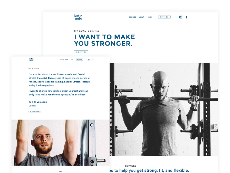 JA Strength Concept personal training personal trainer website