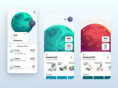 Book your interstellar flight dashboard flight travel planet space user interface flat app ux ui design