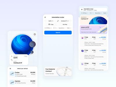 Book your interstellar cruise travel form flat planet productdesign userinterface design ux flight app ui