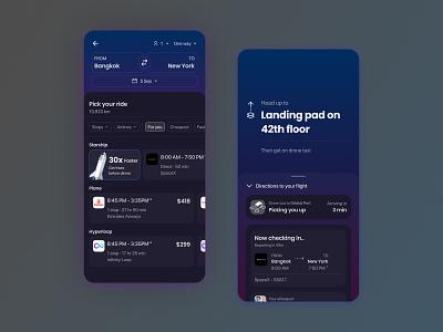 Choose between Starship, Flight, Hyperloop for your travel ! productdesign visualdesign darkmode futuristic design ux flight flat app ui