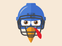 Turkey Face Football Helmet Illustration