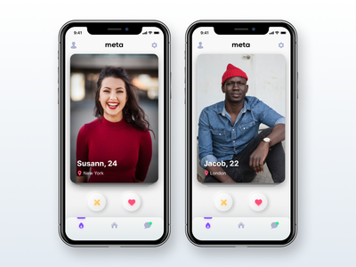 meta - fast dating app minimal design inspiration ui black white justforfun experimental datingapp dating neumorphism