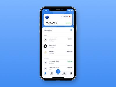 Home screen of Banking / Finance application finance bank minimal design ui inspiration