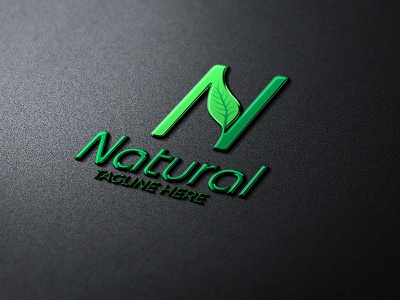 NATURAL design logo green natural