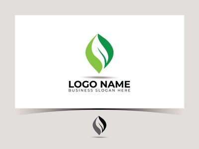 green leaf logo icon vector design