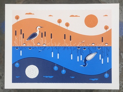 Posters for Parks 2018 - Cycles day night flow water bird vector illustration minneapolis parks posters