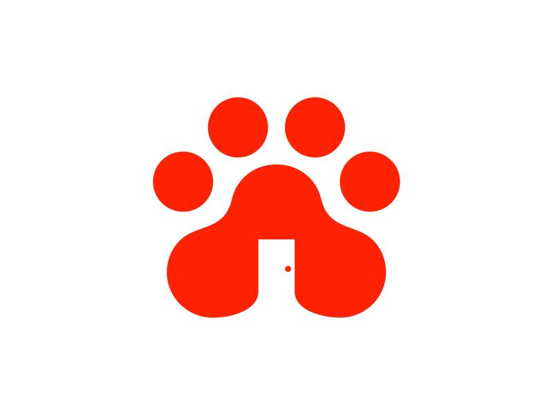 Dog House Logo monogram modern elegant app logo branding logo flat icon negativespace animal house dog