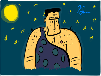 Caveman By Night free hand apple pen illustrator draw ipad illsutration caveman