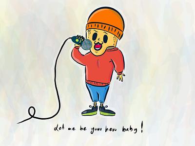 Let me be your hero baby enrique ali soueidan comic ipad drawing illustration hand drawn singer