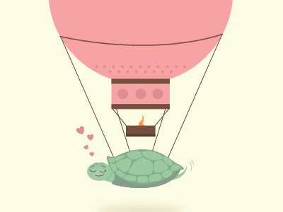 Baby turtle in dreamland heart love airballoon cute illustration poster turtle