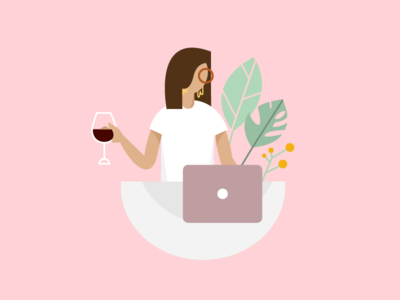 hello dribbble! hello debut design wine illustration