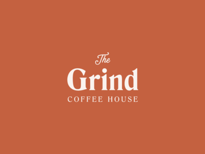 the grind logo design graphicdesign coffeelogo coffee simple text orange typography type minimal logo thirtylogos
