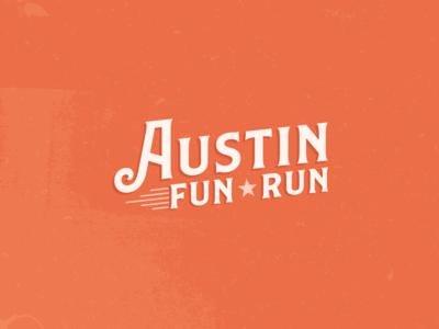 austin fun run logo star run design logo type movement orange austinrun texas austin rustic thirtylogos