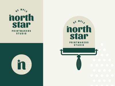 north star logo studio logo north east inspiration adobe illustrator graphic  design star print logo printmaking ink roller green logo design minneapolis design minneapolis mpls north star logo